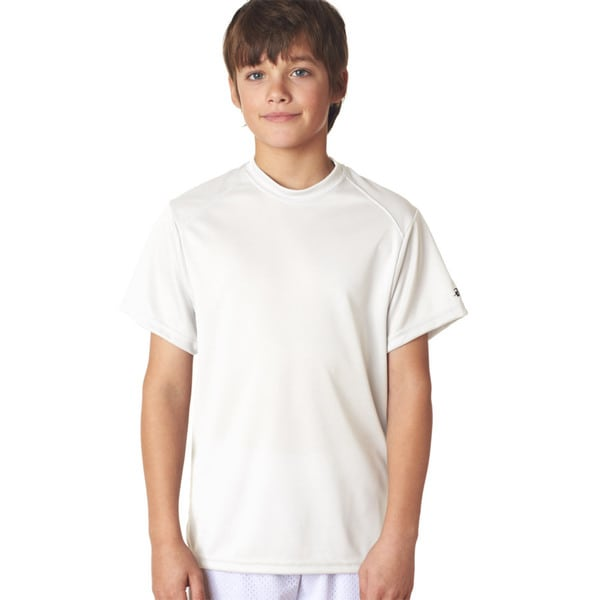 B-Core Youth White Polyester Performance T-shirt