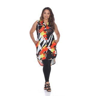 White Mark Women's Zuri Multicolor Polyester/Spandex Plus Tunic Dress