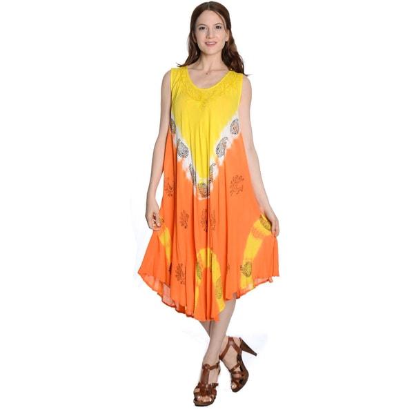 Women's Multicolor Rayon Crinkle Umbrella Dress