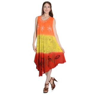 Women's Multicolor Rayon One-size Crinkle Umbrella Dress