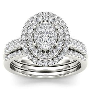 De Couer 14k White Gold 5/8ct TDW Diamond Cluster Frame Bridal Set (H-I,I2)