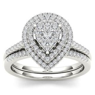 De Couer 14k White Gold 1/2ct TDW Diamond Cluster Pear-Shaped Frame Bridal Set (H-I,I2)