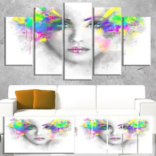Gray Woman with Green Flowers - Portrait Digital Art Canvas Print