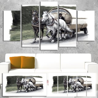 Horse Cart Black and White - Animal Painting Canvas Art