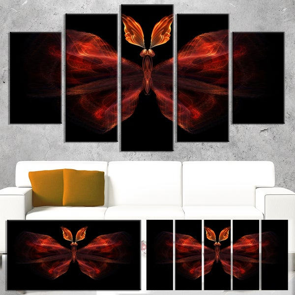 Red Fractal Butterfly in Dark - Large Abstract Art Canvas Print