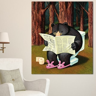 Bear in the Woods - Animal Digital Art Canvas Print