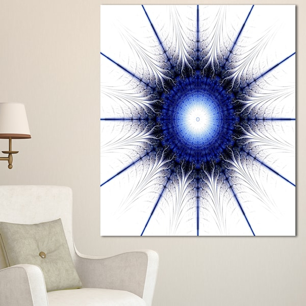 Blue Digital Flower Art - Floral Digital Art Canvas Art Print