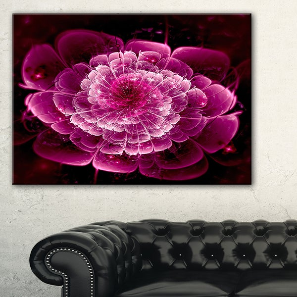 Fractal Flower Dark Pink - Floral Digital Art Canvas Print