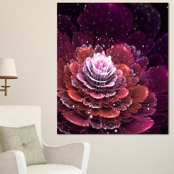 Fractal Flower Red and White - Floral Digital Art Canvas Print