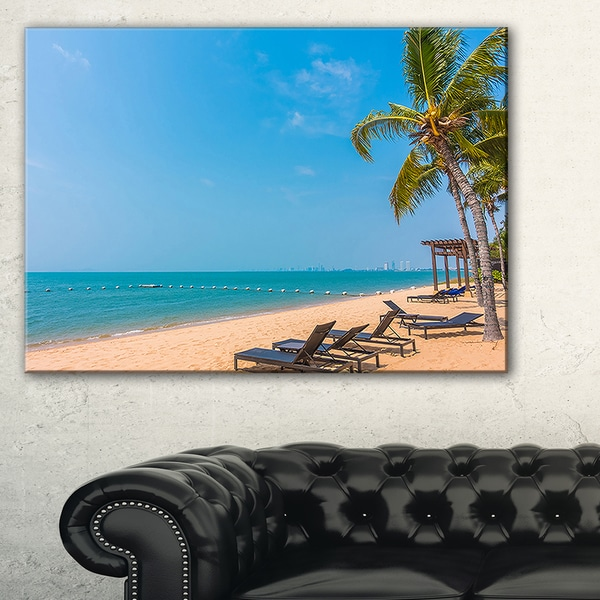 Blue Beach with Palm Trees - Seashore Photo Canvas Art Print