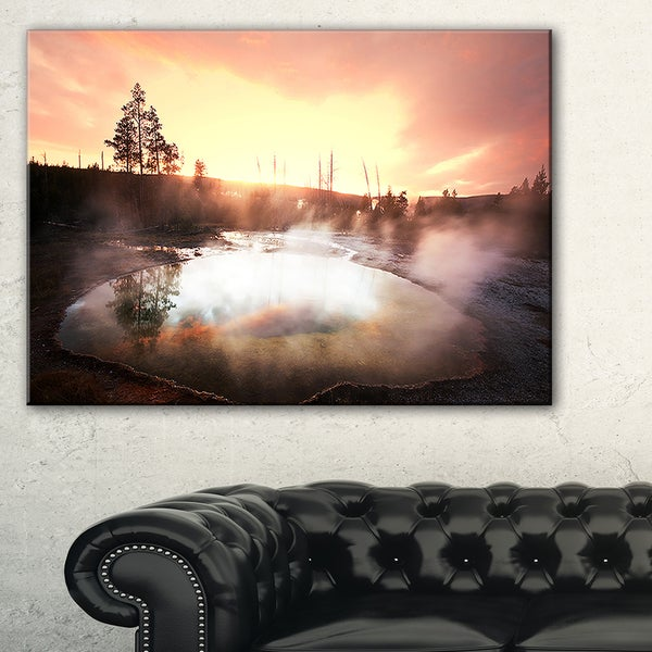 Evening at Morning Glory Pool - Landscape Photo Canvas Print