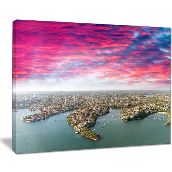 Sydney Under Red Cloud - Cityscape Photo Canvas Art Print