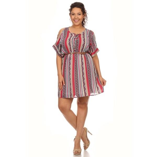 Hadari Plus size stripe print short sleeve mini sundress