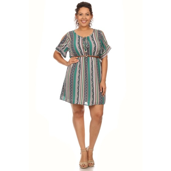 Hadari Plus size stripe print short sleeve mini sundress