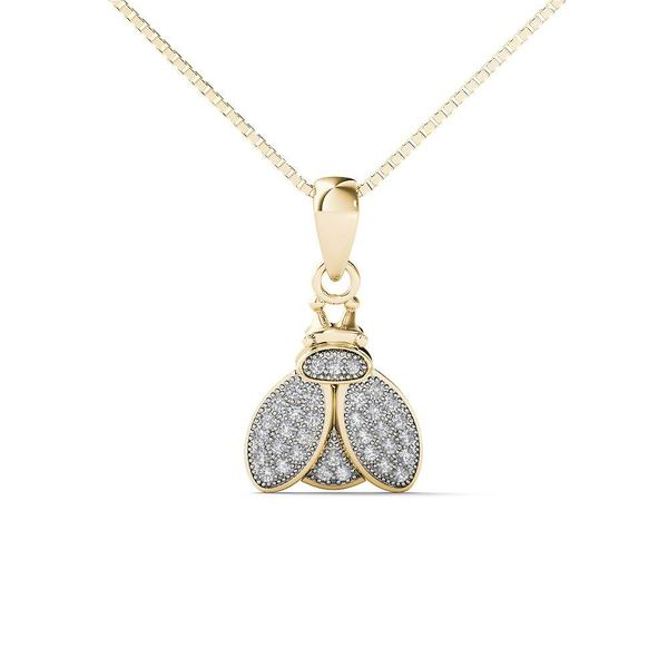 10k Yellow Gold Diamond Accent Bumble Bee Pendant Necklace (H-I,I1-I2)