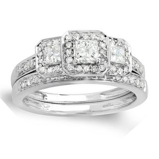 14k White Gold 1ct TDW Round and Princess 3-stone Diamond Ring Set (H-I, I1-I2)