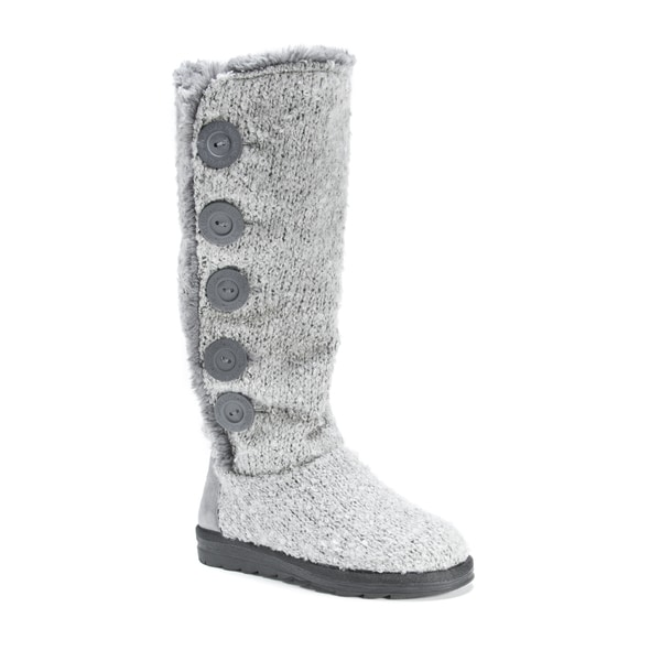 MUK LUKS Women's Jazlyn Grey Polyester Knee-high Boots
