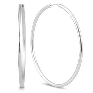 Marquee Jewels 14K White Gold Hoop Earrings (50 Millimeters)