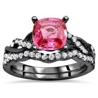 Noori 14k Black Gold 1ct TGW Pink Sapphire and 2/5ct TDW Diamond Bridal Set (F-G, SI1-SI2)