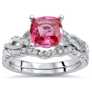 Noori 14k White Gold 1ct TGW Pink Sapphire and 2/5ct TDW Diamond Engagement Ring Bridal Set (F-G, SI1-SI2)