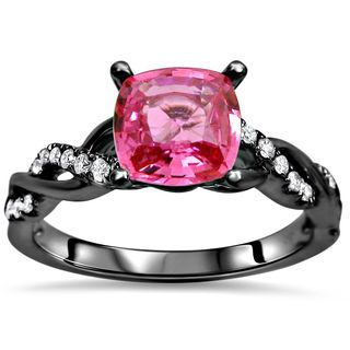 Noori 14k Black Gold 1 1/4ct TGW Pink Cushion Cut Sapphire Diamond Engagement Ring (SI1/SI2, F/G)