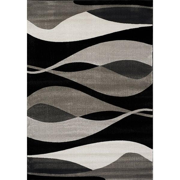 Plait Black/ Grey Drifts Rug (2'8 x 4'11)