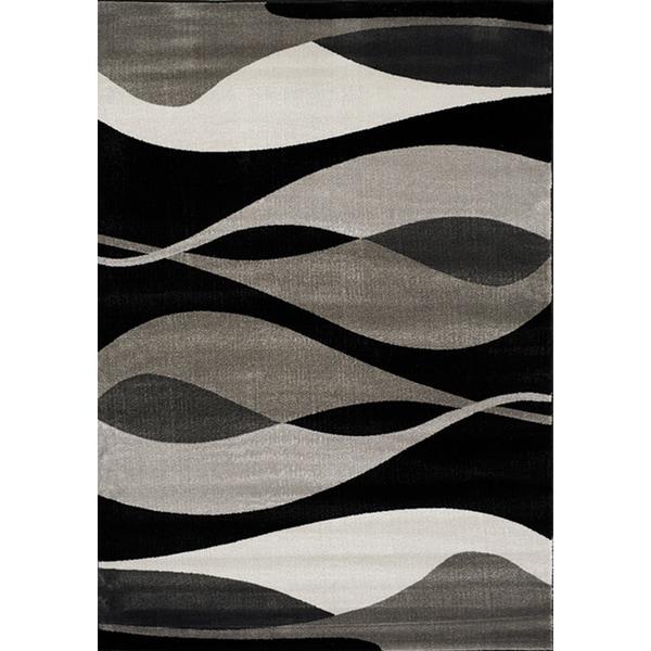 Plait Black/ Grey Drifts Rug (7'10 x 10'10)