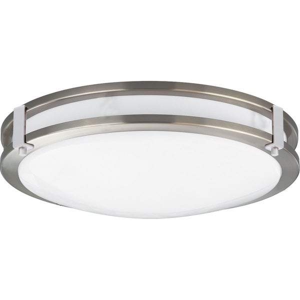 Euro Satin Nickel Finish Steel Flush Mount Fluorescent Ceiling Light Fixture with Decorative Glass
