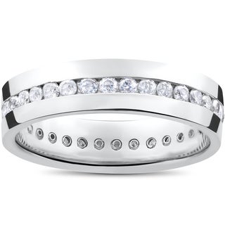 Men's 14k White Gold 1 1/4ct Diamond Channel Set Eternity Wedding Band (I-J,I2-I3)