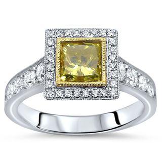 Noori 14k White Gold 1 3/5ct TDW Canary Yellow Princess-cut Diamond Engagement Ring (F-G, SI1-SI2)