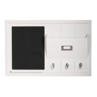 Designovation Dagny White Wood Home Organizer with Chalkboard/Mail Holder/Key Hooks