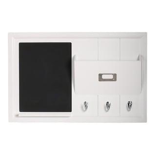 Designovation Dagny White Wood Home Organizer with Chalkboard, Mail Holder and Key Hooks