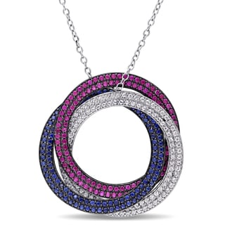 Miadora Sterling Silver Created Blue and White Sapphire and Created Ruby Triple Circle Necklace