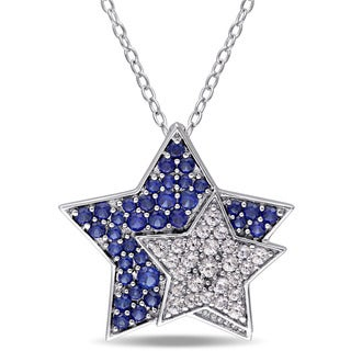 Miadora Sterling Silver Created Blue and White Sapphire Double Star Necklace