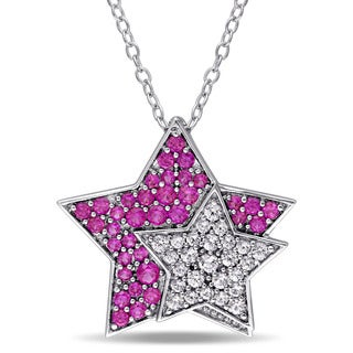 Miadora Sterling Silver Created Ruby and Created White Sapphire Double Star Necklace