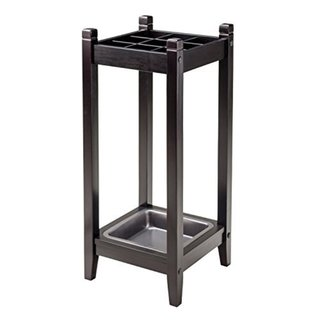 Jana Brown Wood Umbrella Stand with Metal Drip Tray
