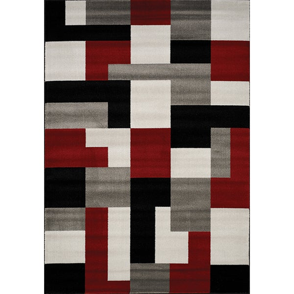 Plait Red/ Black/ Grey Blocks Rug (5'3 x 7'7)