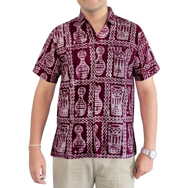 La Leela Men's Classic Red Cotton Handmade Batik Hawaiian Button-Down Dress Shirt