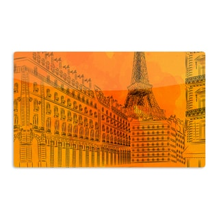 KESS InHouse Fotios Pavlopoulos 'Parisian Sunsets' Orange City Artistic Aluminum Magnet
