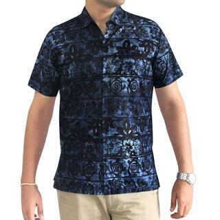La Leela Men's Blue 100-percent Cotton Handmade Floral Batik Hawaiian Short Sleeve Button Shirt