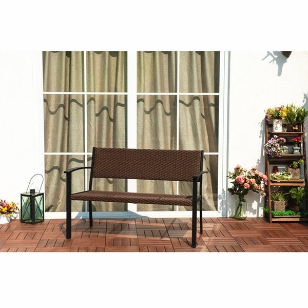 Grand Patio Brown Rattan Outdoor Patio Porch Garden Bench