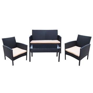 Adeco Black Resin Wicker 4-piece Outdoor Furniture Set