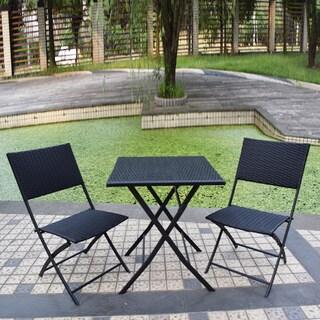 Adeco Black Rattan Wicker Folding Bistro 3-piece Set