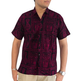 La Leela Men's Aloha Hawaii Pink 100-percent Cotton Casual Button-down Relaxed Fit Short-sleeve Shirt