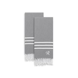 Authentic Ella Grey Monogrammed Pestemal Fouta Turkish Cotton Hand/Bath Towel Set of 2