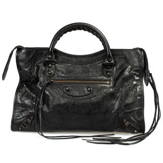 Balenciaga Classic City Lambskin Bag in Black w/ Aged Brass Hardware Size Medium
