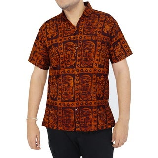 La Leela Men's Aloha Cotton Vintage Relaxed Fit Short-sleeve Button-front Shirt