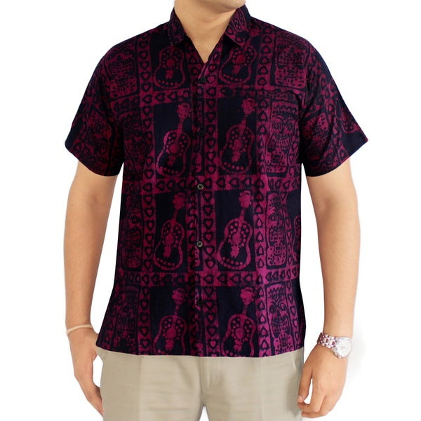 La Leela Men's Red Lightweight Cotton Hawaiian Tie-dye Short-sleeve Relaxed-fit Shirt
