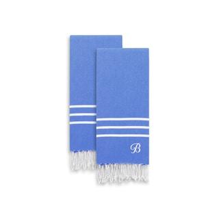 Authentic Ella Royal Blue Monogrammed Pestemal Fouta Turkish Cotton Hand/Kitchen Towel (Set of 2)
