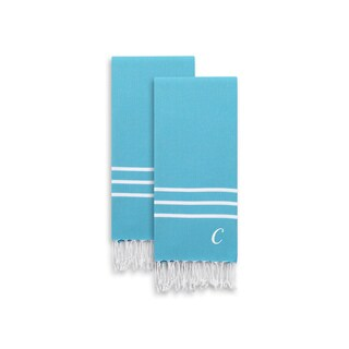 Authentic Ella Turquoise Blue Monogrammed Pestemal Fouta Turkish Cotton Hand/Kitchen Towel (Set of 2)